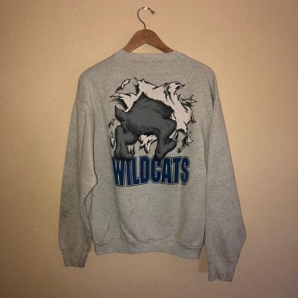 Vintage 90/'s Childs Kentucky Wildcats Graphic Sweatshirt Crew Neck Blue Youth 10-12